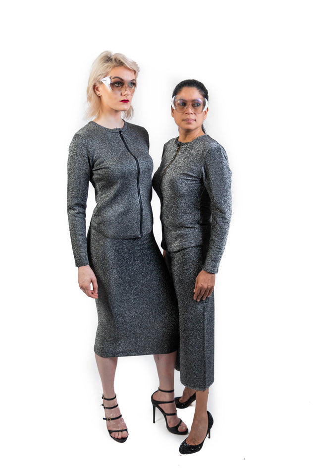 Silver Power Skirt & Jacket Suit