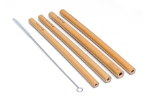 Load image into Gallery viewer, Pack of 4 - Natural Bamboo Straws Deep Blue Straws