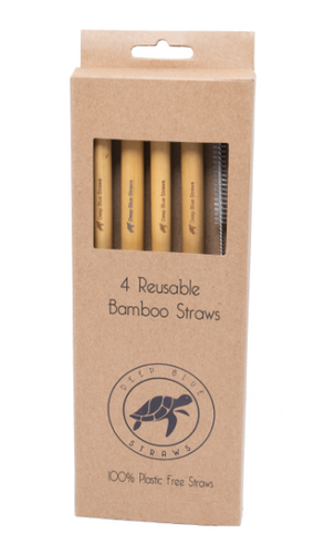 Pack of 4 - Natural Bamboo Straws Deep Blue Straws