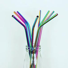 Load image into Gallery viewer, Rainbow Stainless Steel Straw Deep Blue Straws
