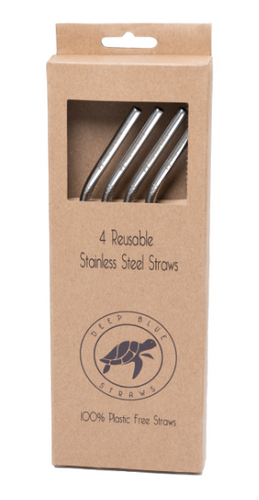 Pack of 4 - ANGLED Stainless Steel Straws Deep Blue Straws