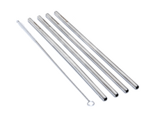 Load image into Gallery viewer, Pack of 4 - STRAIGHT Stainless Steel Straws Deep Blue Straws
