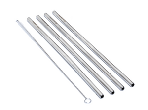 Pack of 4 - STRAIGHT Stainless Steel Straws Deep Blue Straws