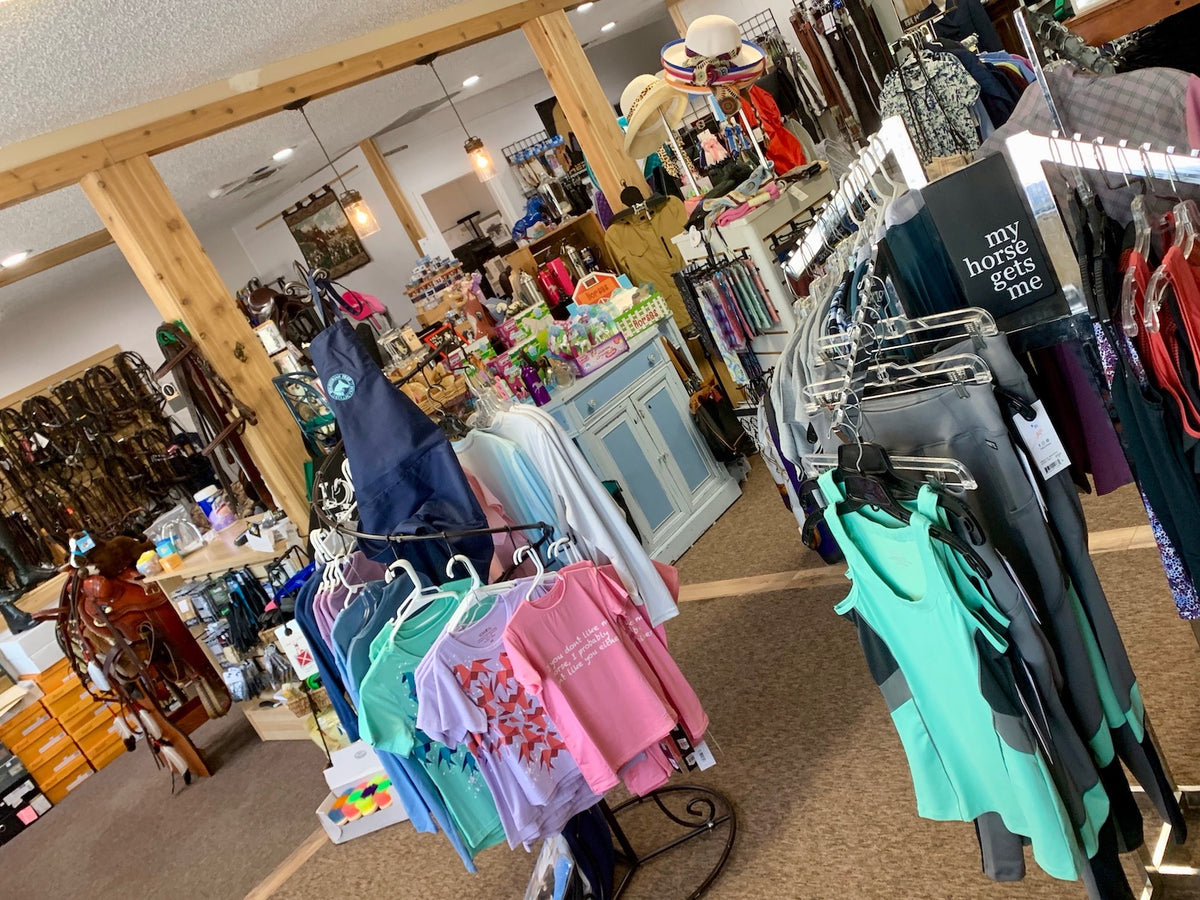A look inside Oak Hollow Saddlery & Gifts tack shop located in Pinellas County, FL shows english riding apparel, saddles, tack and gifts.