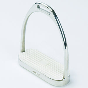 Shiny silver english riding stirrup with white textured foot pad.