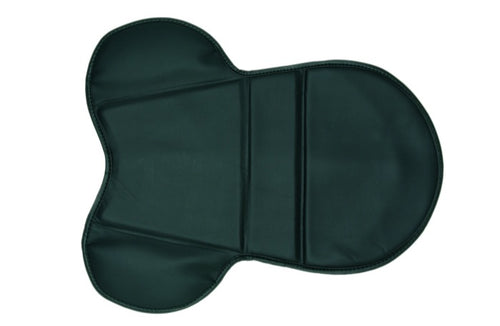 Showing a black flat shaped cushion intended to fit over the top of an english riding saddle to provide extra protection and cushioning.