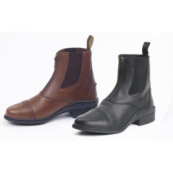 Equestrian ankle high paddock boots for horseback riding.  Zippered front.