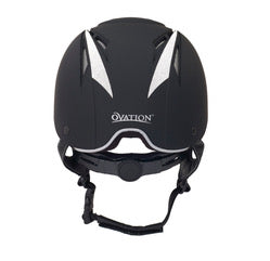 This is a black and sliver Ovation Z-6 Helment, Features a bit of bling with frosted sticker accents, leather brim and harness and adjustable dial-fit. Certified to ASTM standards.