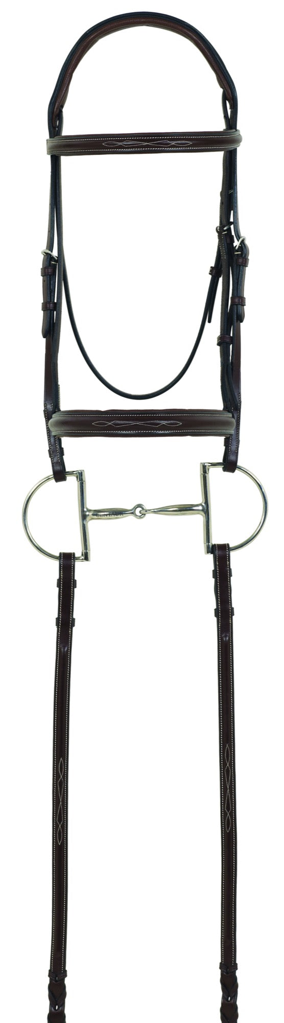 Brown leather english bridle with a D-ring snaffle bit. The bridle has some fancy stitching on the noseband and  broadband.