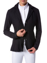 Woman figure modeling an equestrian english style show jacket.