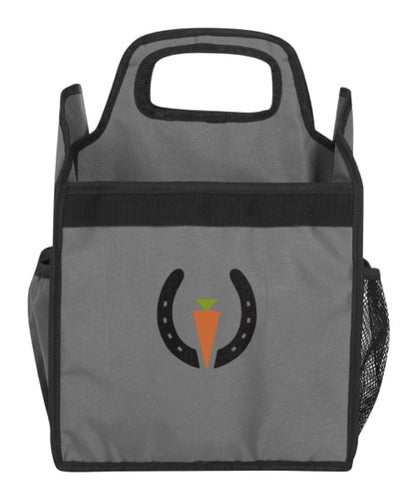 Grey and black equestrian soft sided grooming tote with a black horseshoe and the Kerrits brand