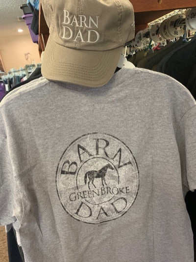 Barn Dad cap is tan with creme colored embroidered words.  Also showing the grey