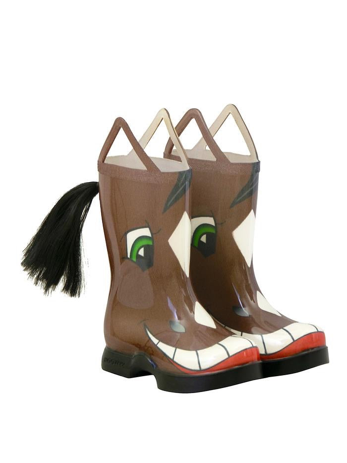 Kids novelty rain boots that look like  a smiling horse - even has a tail coming out of the back calf.