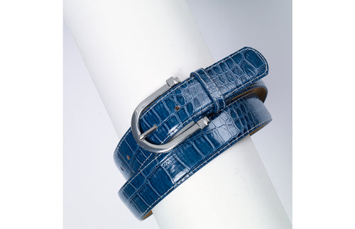 Dutch Blue belt with rounded buckle.  Textured to look like alligator