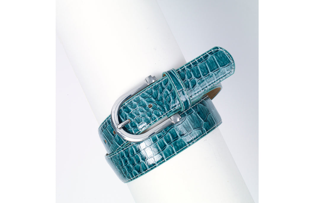 Teal colored belt with rounded buckle.  Textured to look like alligator skin.