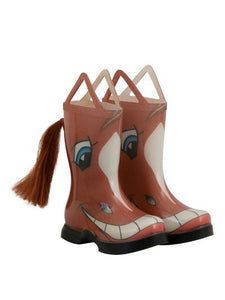 Kids novelty rain boots that look like  a smiling chestnut horse - even has a tail coming out of the back calf.