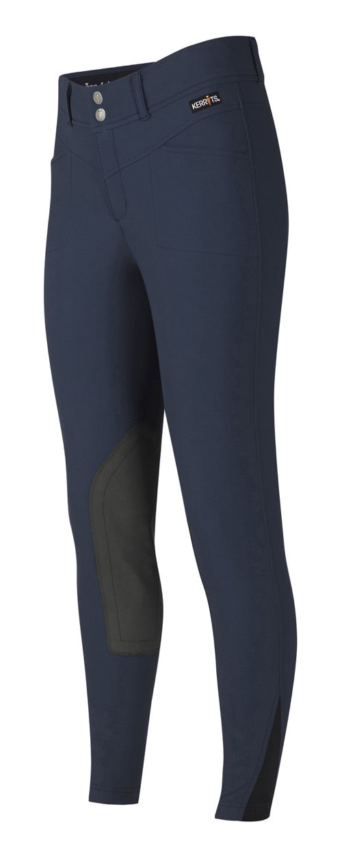 Navy blue equestrian knee patch breeches with a Kerrits logo above the front pocket.