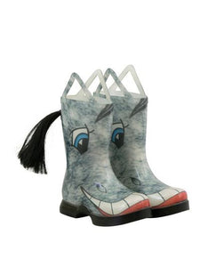 Kids novelty rain boots that look like  a smiling grey horse - even has a tail coming out of the back calf.