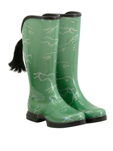 sage green rain boots with an equestrian design.  The boots have a removable horse tail and leave a hoof print in the dirt.