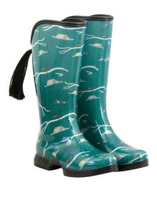forest green rain boots with an equestrian design.  these boots have a removable horse tail and leave a hoof print in the dirt.