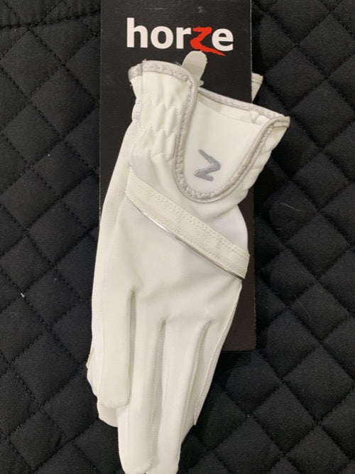 White leather equestrian riding glove showing the Horze brand on packaging and wrist.