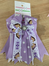 Pretty purple ribbon equestrian show  bows