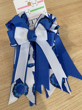 Pretty royal blue and white ribbon equestrian show bows