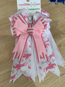 Pretty pink and white ribbon equestrian show bows