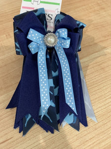 Pretty navy and light blue ribbon equestrian show bows