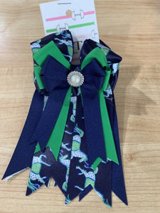 Pretty navy and green ribbon equestrian show bows