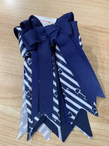 Pretty navy and white ribbon equestrian show bows
