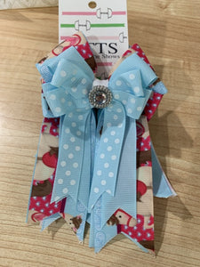 Pretty light blue and tan and red  ribbon equestrian show bows
