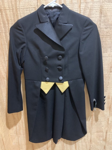 This navy classic shadbelly with gold accents and long tails is the perfect show jacket for you!