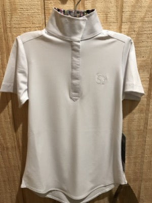 White equestrian short sleeve show shirt with snaps at top.  Cute pattern on inside collar.