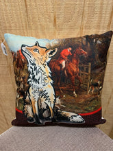 Beautiful pillow with a traditional equestrian hunt scene as the background for a whimsical fox.