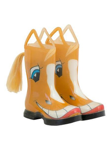 Kids novelty rain boots that look like  a smiling palomino horse - even has a tail coming out of the back calf.