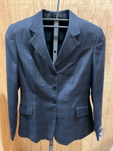 Equestrian style riding jacket is Navy blue with light blue pinstripe. 3 buttons .