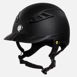 Beautiful matte black Trauma Void riding helmet. with a leather look chin harness.  Vents for airflow.  Stylish equestrian show helmet.