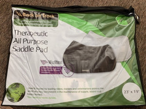 Package showing a picture of a black and a white therapeutic all purpose saddle pad for english style riding.