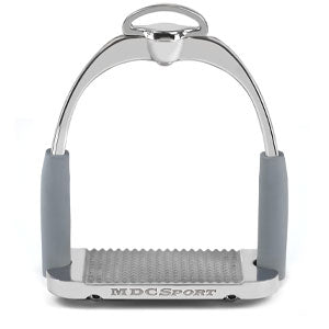 MDC silver sport stirrup for riding horses with swivel at the the top where the stirrup leathers connect.  Jointed with rubber along the sides for ultimate ankle flexibility while riding.