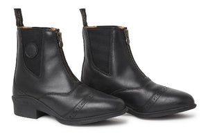 Equestrian black paddock boots for riding horses.  Ankle high boots are black with front zippers and some leather tooling.