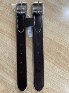 Brown leather girth extender for english style girth.  Two connected leathers with buckles.