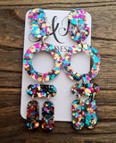 Long Circle Heart Tube Glitter Earrings, Dangle Statement Earrings 10cm long, Teal, Rose Gold, Hot Pink Mix Earrings