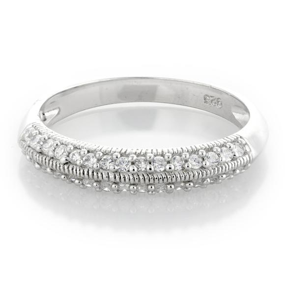 Sterling Silver Milgrain Edge Cubic Zirconia Band Thin Ring - Silver and Resin Designs