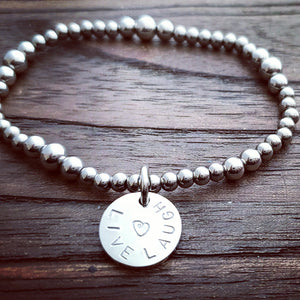 Personalised Hand Stamped Bead Charm Bracelet