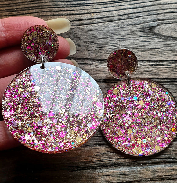 Gold Pink Glitter Circle Long Resin Acrylic Earrings, Statement Earrings