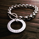 Personalised Hand Stamped Rolo Toggle Bracelet. Silver, Gold or Rose Gold - Silver and Resin Designs