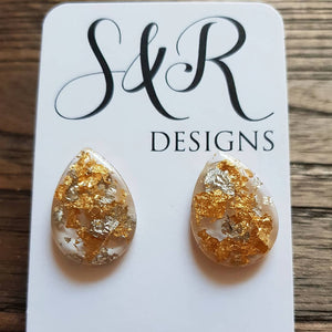 Teardrops Stud Earrings, Light Gold Silver Leaf Mix Earrings Stainless Steel - Silver and Resin Designs