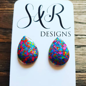 Teardrops Glitter Stud Earrings, Neon Glitter Earrings Stainless Steel - Silver and Resin Designs