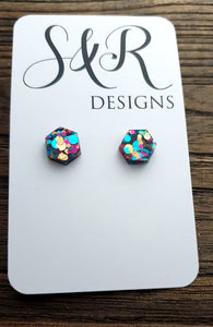 Hexagon Resin Stud Earrings, Aqua Gold Pink